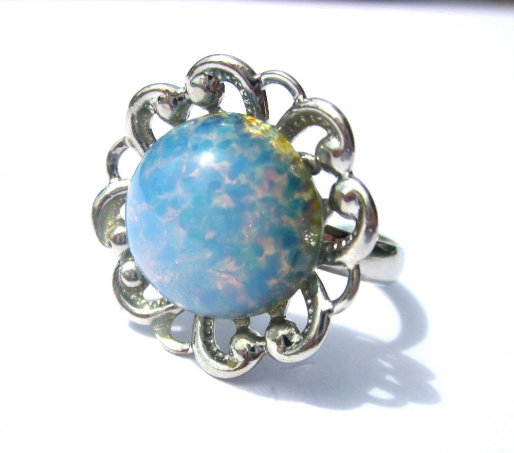 "Blue ""Opal"" Flower Ring, summer jewelry, summer ring"