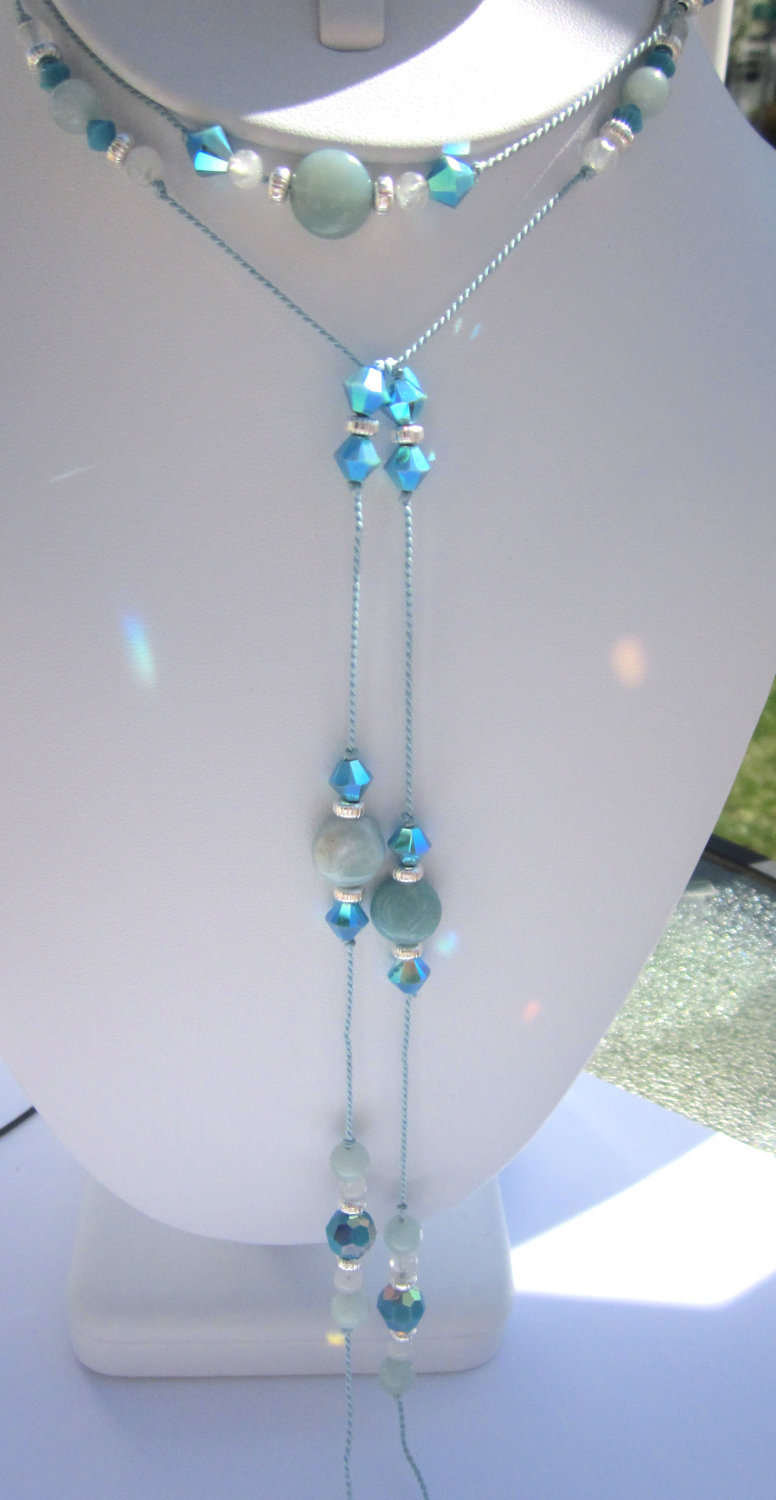One of a kind Silk Lariat- Silk knotted Swarovski crystal turquoise AB and natural Amazonite Gemstones