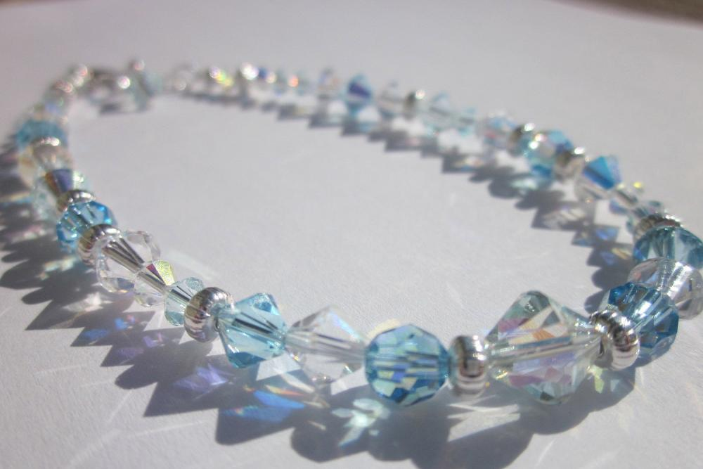 Swarovski crystal &quot;Aquamarine, Blue Azure and crystal ab&quot; anklet