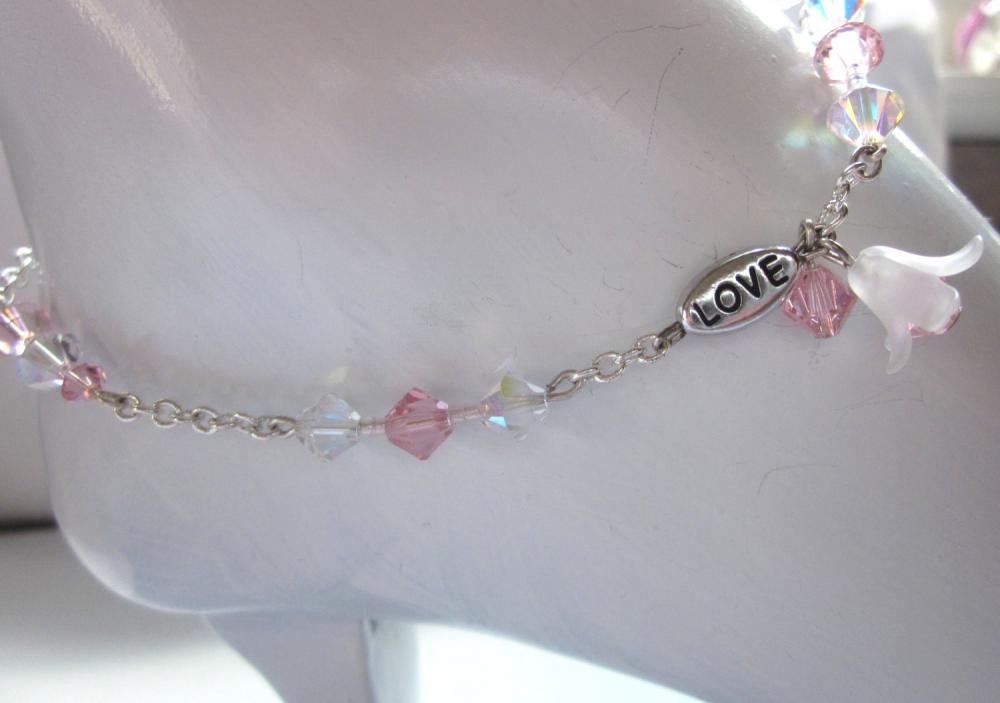 Sparkle Love Anklet, Pink Swarovski crystals, dangling flower on chain. Summer jewelry,