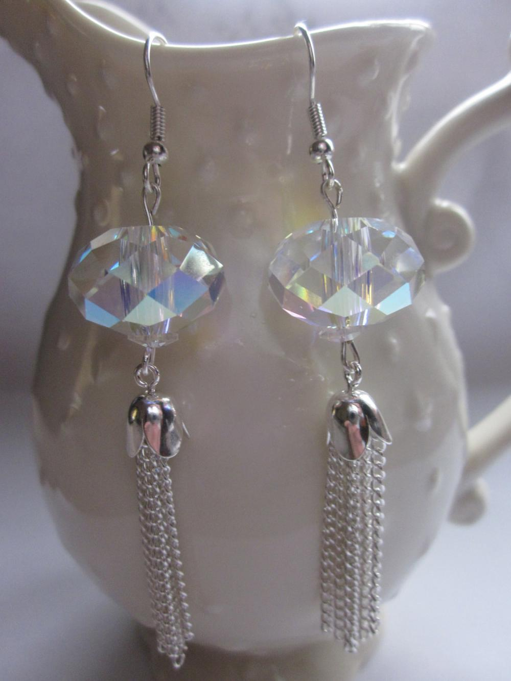 "Swarovski crystal crystal ab and silver ""Tassle Earrings"""