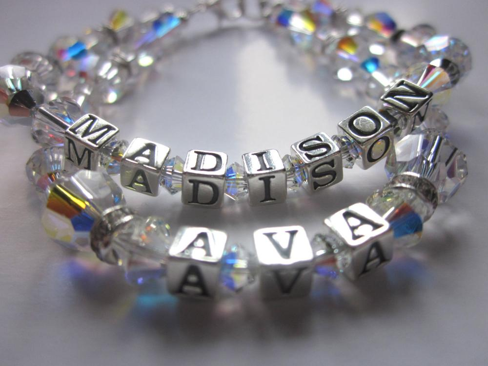 Sparkle Mommy Bracelet- Swarovski Crystals and Swarovski Rhinestone rondelles, Mothers Day