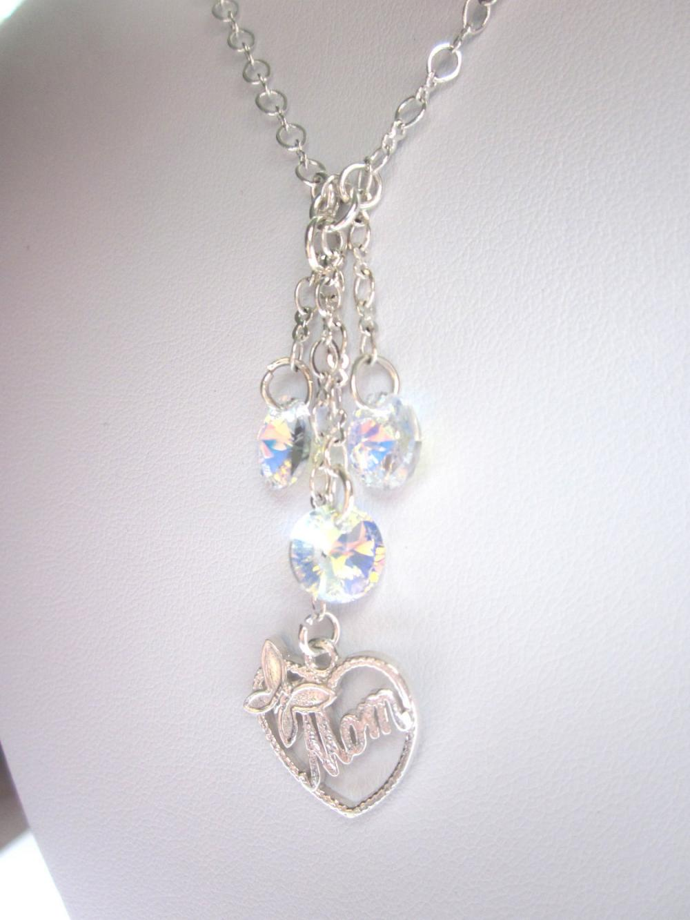 MOM Necklace, Swarovski Crystal Tassle , sterling silver butterfly heart MOM charm, Mothers Day, sparkle