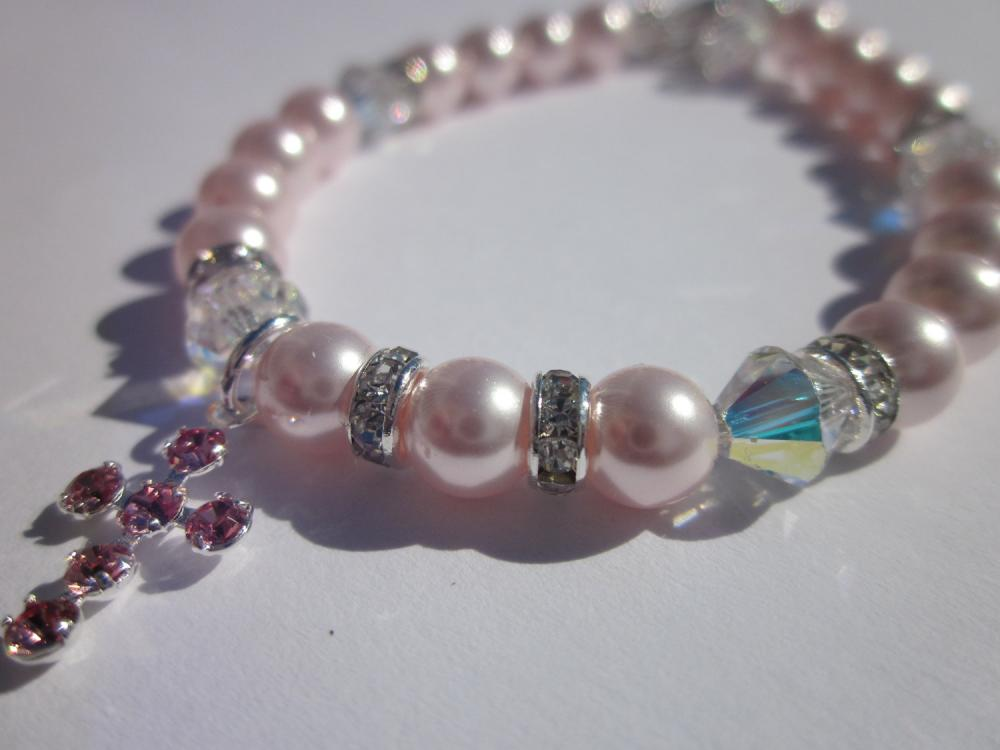 Communion bracelet-Swarovski crystal and powder pink pearl