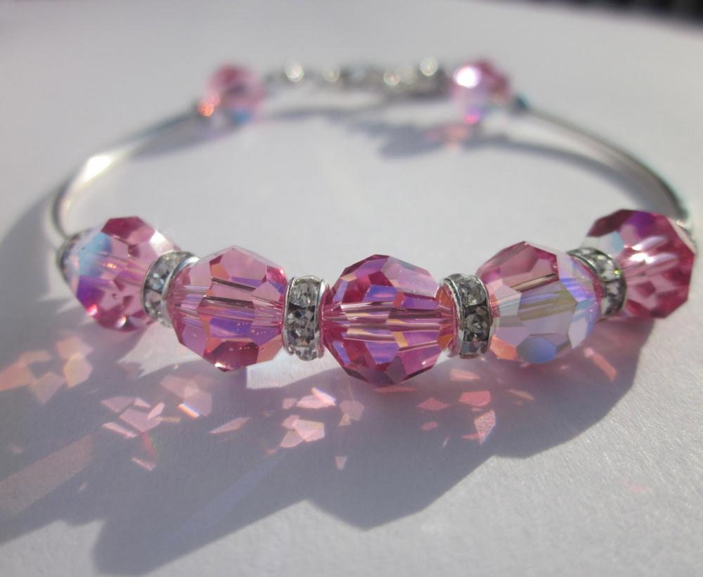 "Bracelet -Swarovski Crystal Pink ""Believe"" Bangle- charm, sterling silver"